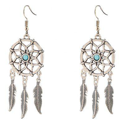 Pair of Fashionable Hollow Out Feather Tassel Earrings For ...