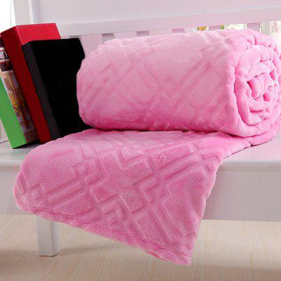 Stylish Solid Color Super Soft Warm Polyester Pink Blanket