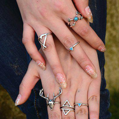 A Suit of Vintage Deer Head Triangle Arrow Turquoise Rings For Women