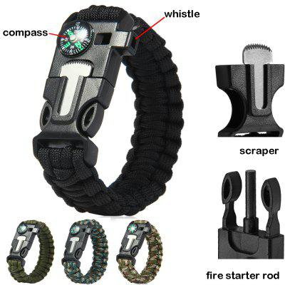 4pcs 5 in 1 Outdoor Survival Paracord Bracelet