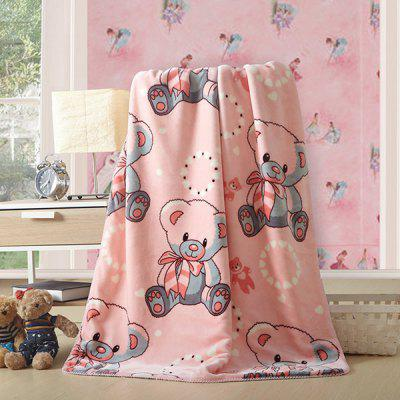 Charming Cartoon Bear Printed Polyester Warm Baby Blanket