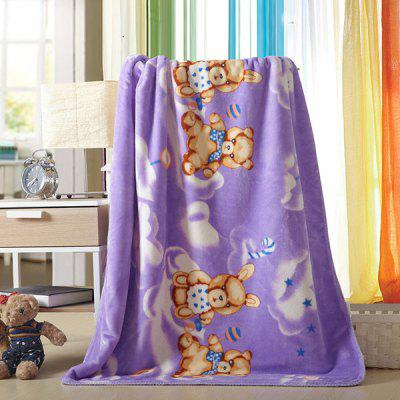 Quality Cartoon Bear Printed Polyester Warm Purple Baby Blanket