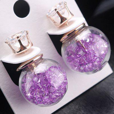Pair of Fresh Style Faux Crystal Glass Cover Earrings For Women