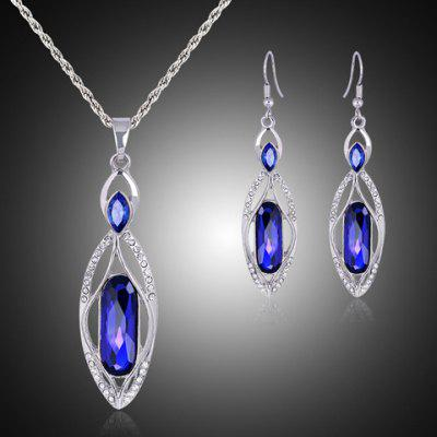 A Suit of Graceful Faux Crystal Rhinestone Hollow Out Necklace and Earrings For Women