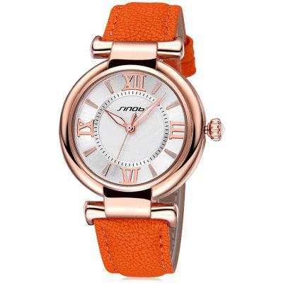 Buy ORANGE AND GOLDEN SINOBI 2672 Women Japan Quartz Watch PU Leather Strap for $10.66 in GearBest store