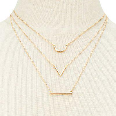 Graceful Rhinestoned Horseshoe Three-Layered V-Shaped Necklace