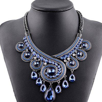 Vintage Rhinestone Hollow Out Water Drop Pendant Necklace