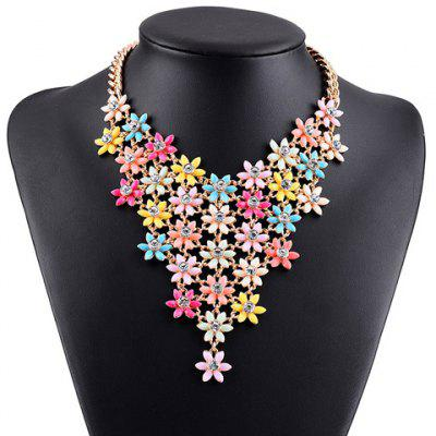 Graceful Rhinestone Blossom Hollow Out Necklace For Women
