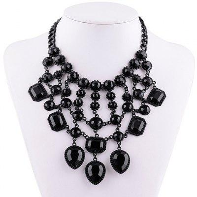 Vintage Solid Color Faux Gemstone Rectangle Hollow Out Necklace For Women