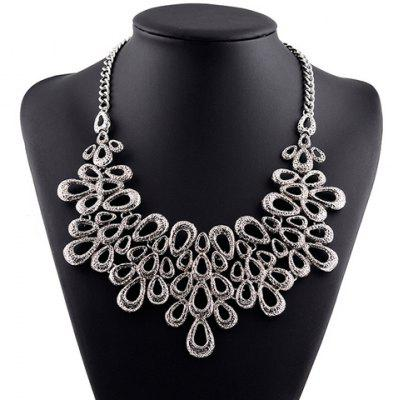 Vintage Hollow Out Water Drop Statement Necklace