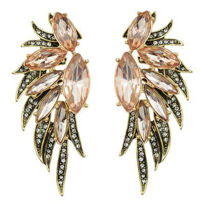 Pair of Oval Shape Rhinestoned Faux Crystal Earrings