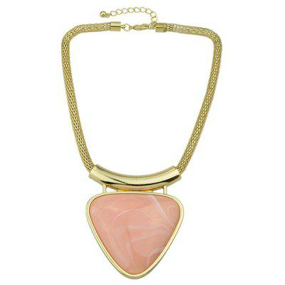 Alloy Faux Gemstone Triangle Pendant Necklace