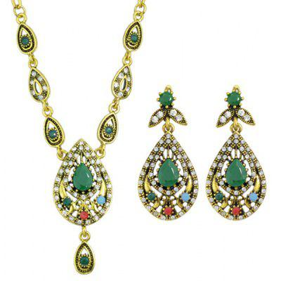 A Suit of Vintage Rhinestone Water Drop Necklace and Drop Earrings