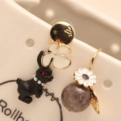 Pair of Bead Flower Rabbit Shape Earrings