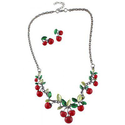 A Suit of Sweet Cherry Shape Necklace and Earrings For Women