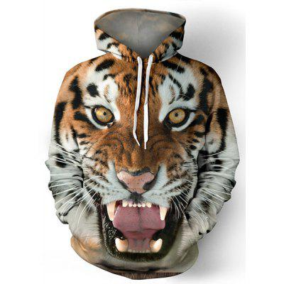 Hot Sale Drawstring Hooded Front Pocket Cool 3D Tiger Print Manga comprida Men's Loose Fit Hoodie