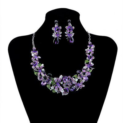 Faux Crystal Dragonfly Floral Necklace and Earrings