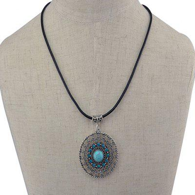 Rhinestone Faux Turquoise Hollow Out Necklace