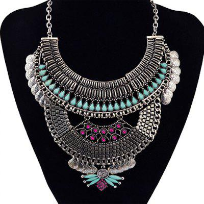 Vintage Semicircle Water Drop Tassel Necklace