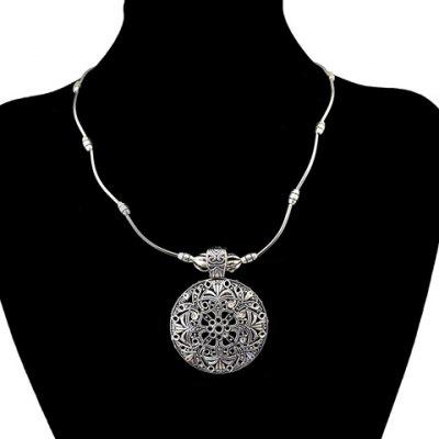 Filagree Round Pendant Necklace