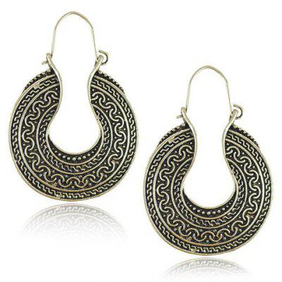 Pair of Vintage Carving Pattern Round Earrings