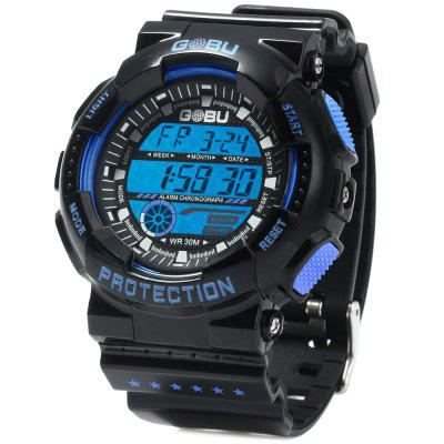 Gobu 1589 Double-breasted Rubber Strap Men LED Sports Watch