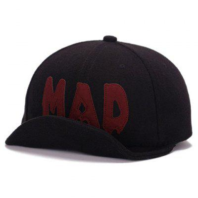 Stylish Melt Letter Shape Embellished Brim Curl Felt Baseball Cap For Men