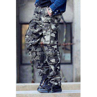 Vogue Loose Fit Multi-Pocket Straight Leg Zipper Fly Men's Thicken Camo Cargo Pants