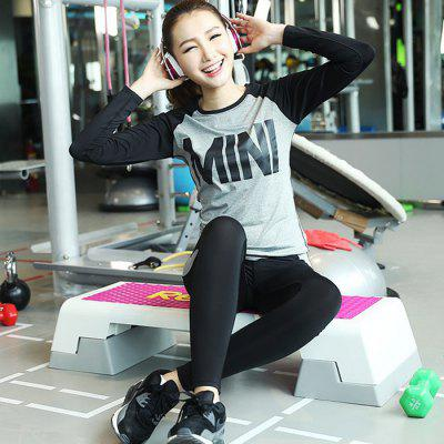 Women Slim Yoga Long Sleeve Suits Round Neck