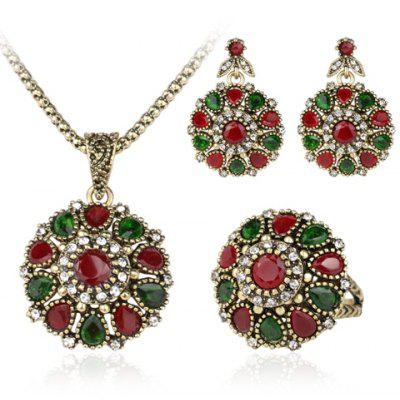 A Suit of Faux Gem Flower Shape Jewelry Set