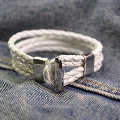 Trendy Layered Faux Leather Chain Hand Knitting Bracelet For Men