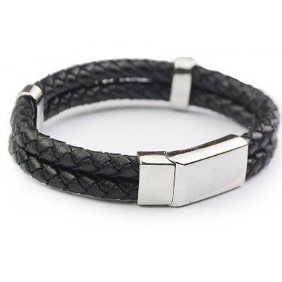 Chic Two-Layered Hand Knitting Faux Leather Chain Bracelet For Men