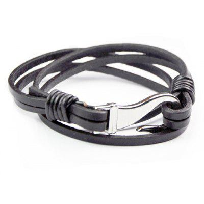 Multideck Faux Leather Rope Chain Fishhook Bracelet