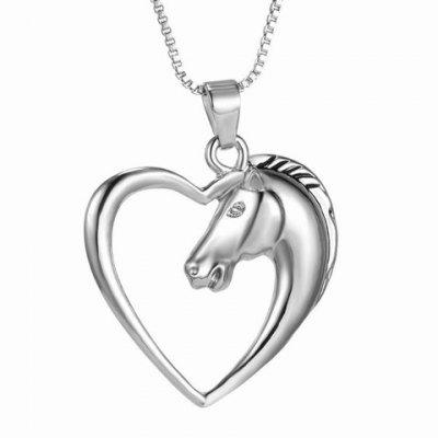 Vintage Heart Hollow Out Horse Shape Pendant Necklace For Women