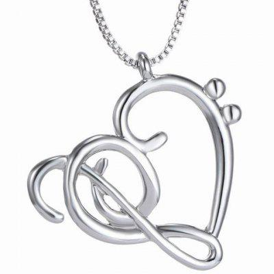 Music Note Heart Shape Hollow Out Necklace