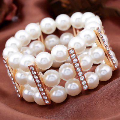 Graceful Rhinestoned Faux Pearl Hollow Out Bracelet For Women