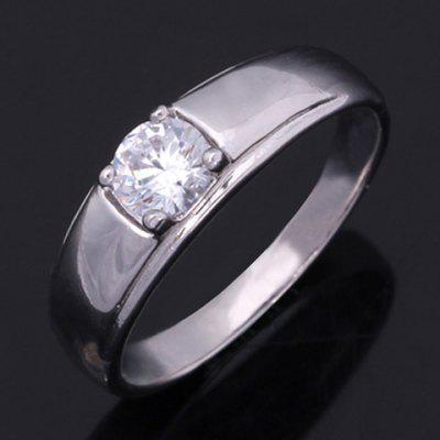 Simple Style Rhinestone Round Ring For Women