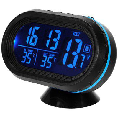 Car LCD Voltage Meter Clock Thermometer