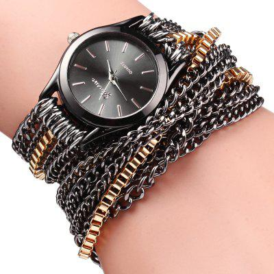 Alloy Chain Link Bracelet Women Quartz Wristwatch