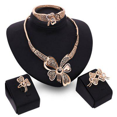 A Suit of Graceful Rhinestone Butterfly Necklace Earrings Ring and Bracelet For Women