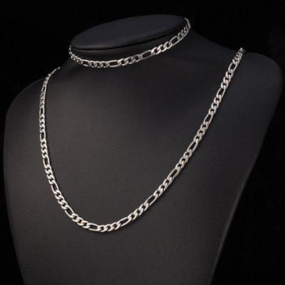A Suit of Delicate Titanium Steel Chain Bracelet and Necklace For Men