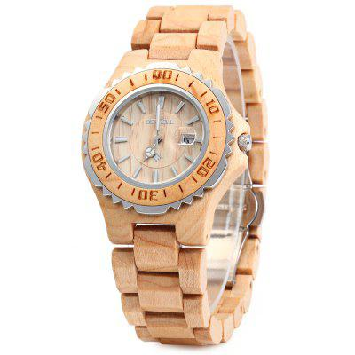 BEWELL ZS-100BL Wooden Women Quartz Watch