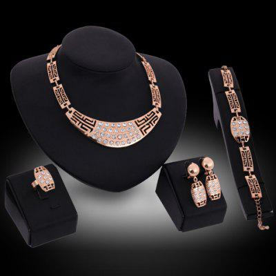 A Suit of Graceful Rhinestone Hollow Out Necklace Earrings Ring and Bracelet For Women