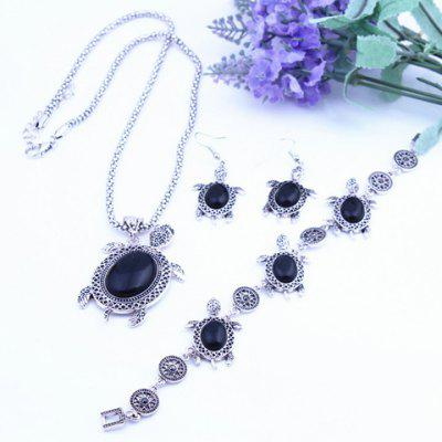 Retro Faux Crystal Tortoise Shape Jewelry Set