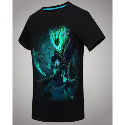 3D League of Legends 's Thresh Print Slimming Round Neck Short Sleeves Men's Black T-Shirt