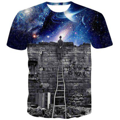 Hot Sale 3D Looking at The Stars Scenery Print Slimming Round Neck Short Sleeves Men's T-Shirt