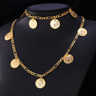 A Suit of Graceful Solid Color Round Coin Necklace and Bracelet For Women