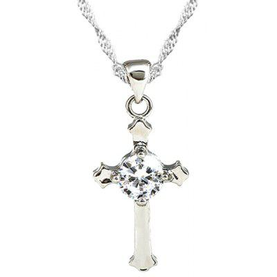 Rhinestone Cross Shape Pendant Necklace