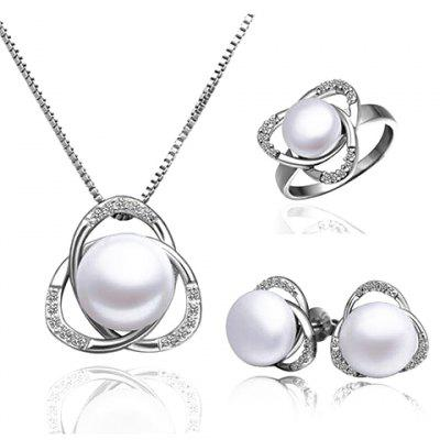 A Suit of Exquisite Faux Pearl Clover Shape Necklace Ring and Earrings For Women