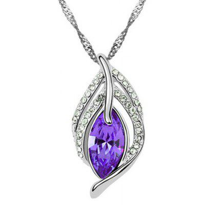Exquisite Faux Crystal Rhinestone Hollow Out Leaf Necklace For Women